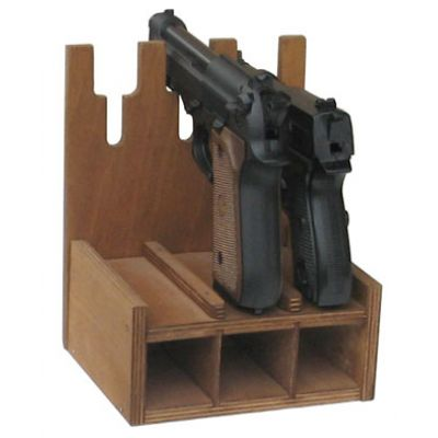 Деревянный ложемент на 3 пистолета и обоймы